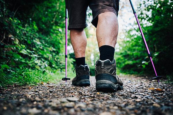 Wanderschuhe im Wald auf einem Schotter-Wald-Weg